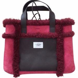Ugg Red Suede Tote Handbag Fuzzy